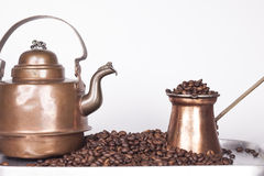 Cezve or ibrik and vintage kettle. On white background royalty free stock photo