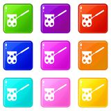Cezve icons 9 set. Cezve icons of 9 color set isolated vector illustration Stock Photography