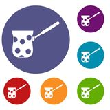 Cezve icons set. In flat circle reb, blue and green color for web Royalty Free Stock Photos