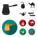Cezve,Oil lamp, camel, snake in the basket.Arab emirates set collection icons in black, flat style vector symbol stock Royalty Free Stock Images