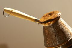 Cezve and turkish coffee. Cezve and freshly made turkish coffee Stock Images