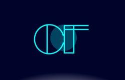 cf c f blue line circle alphabet letter logo icon template vecto stock illustration