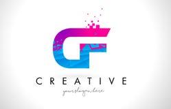 CF C F Letter Logo with Shattered Broken Blue Pink Texture Desig royalty free illustration