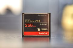 CF memory cards. BUDAPEST, HUNGARY - DECEMBER 10, 2017: Proffessional 256GB CF memory card for photography and video recording Royalty Free Stock Images