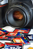 CF memory flash card and DSLR camera Stock Photography