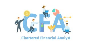 CFA, Chartered Financial Analyst. Concept with keywords, letters and icons. Flat vector illustration. Isolated on white royalty free illustration