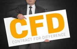 CFD-de affiche wordt gehouden door zakenman royalty-vrije stock afbeeldingen