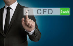 Cfd internet browser is operated by businessman.  stock photo