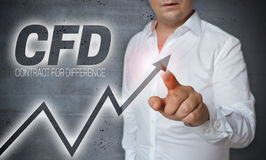 Cfd touchscreen is operated by man Stock Photo
