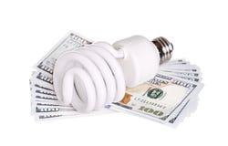 CFL与金钱被隔绝的美元现金的荧光灯电灯泡 图库摄影