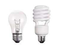 CFL在白色隔绝的荧光灯电灯泡 库存图片