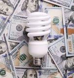 CFL在金钱美元现金的荧光灯电灯泡 库存图片