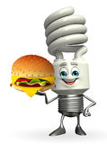 CFL Character with burger Royalty Free Stock Image