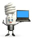 CFL Character with Laptop Stock Photo