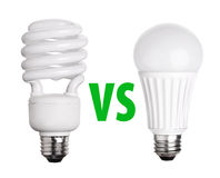 CFL Fluorescent and LED Light Bulb isolated on white Royalty Free Stock Image