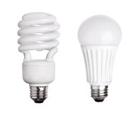 CFL Fluorescent and LED Light Bulb on white Royalty Free Stock Photos