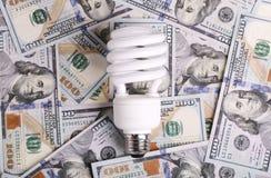 CFL Fluorescent Light Bulb on money dollar cash Stock Photos