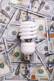 CFL Fluorescent Light Bulb on money dollar cash Stock Photo