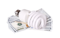 CFL Fluorescent Light Bulb with money dollar cash Royalty Free Stock Photos