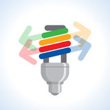 Cfl light bulb and arrow Stock Image