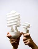 CFLs komt in vele grootte Stock Foto