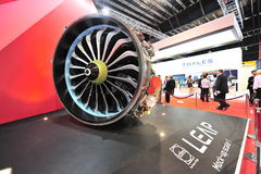 CFM International LEAP high-bypass turbo fan engine on display at Singapore Airshow Stock Photos