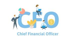 CFO, Director Financiero Concepto con palabras claves, letras, e iconos Ejemplo plano del vector Aislado en blanco stock de ilustración