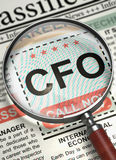 CFO Join Our Team. 3D. CFO - Chief Financial Officer. CloseUp View Of A Classifieds Through Loupe. Newspaper with Advertisements and Classifieds Ads for Vacancy Royalty Free Stock Images