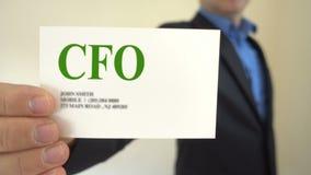 CFO Present Business Card stock footage