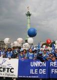 cftc visar franskt paris fackförbund Arkivfoton