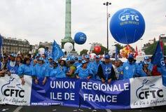 cftc visar franskt paris fackförbund Arkivfoto