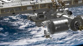 CG Animation of International Space Station ISS revolving over earths atmosphere. Astronaut Spacewalk. Elements of this. International Space Station ISS royalty free illustration