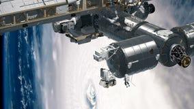 Cg-animering av internationella rymdstationen ISS som kretsar över jordatmosfär Astronaut Spacewalk Beståndsdelar av detta