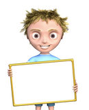 Cg boy with blank sign Royalty Free Stock Photo