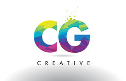 CG C G Colorful Letter Origami Triangles Design Vector. stock illustration