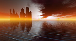 Cg city. Cg future city surronded in orange fog and haze Stock Images