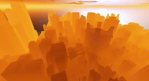 Cg city. Cg future city surronded in orange fog and haze Royalty Free Stock Photography