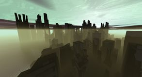 Cg city. Cg future city surronded in orange fog and haze Royalty Free Stock Photos
