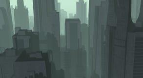 Cg city. Cg future city surronded in orange fog and haze Stock Photo