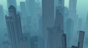 Cg city. Cg future city surronded in orange fog and haze Royalty Free Stock Images