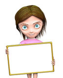 Cg girl with blank sign Stock Photos