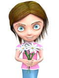 Cg girl with flowers Stock Image