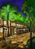 CG-het schilderen straatnacht Royalty-vrije Stock Foto's