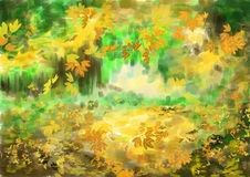 Cg painting autumn background. Hand drawing Stock Images