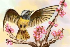 Cg painting bird. Hand draw Royalty Free Stock Photos