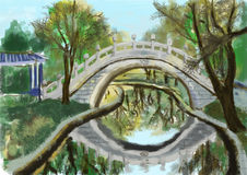 Cg painting bridge in the garden Royalty Free Stock Image