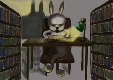 Cg painting rabbit read Stock Image
