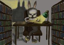 Cg painting rabbit read. Hand draw Stock Image
