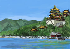 Cg painting the summer palace Royalty Free Stock Photo