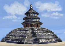 Cg painting Temple of Heaven Royalty Free Stock Images